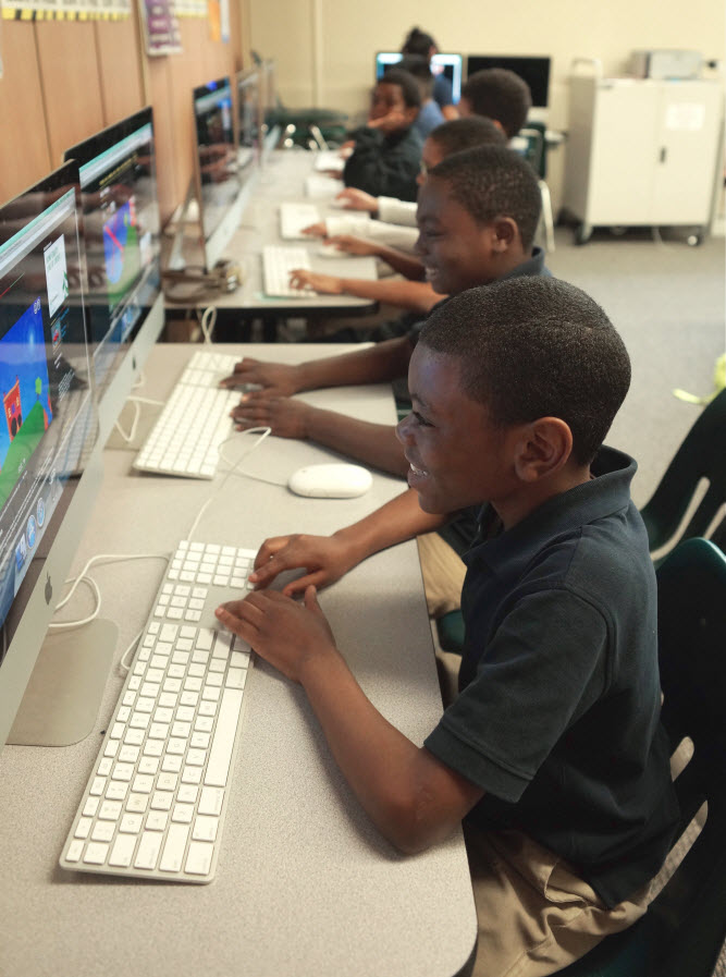 Stonebridge World School students on computers