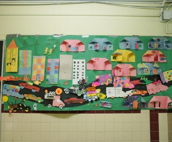 Mural in the hallway at Stonebridge World School
